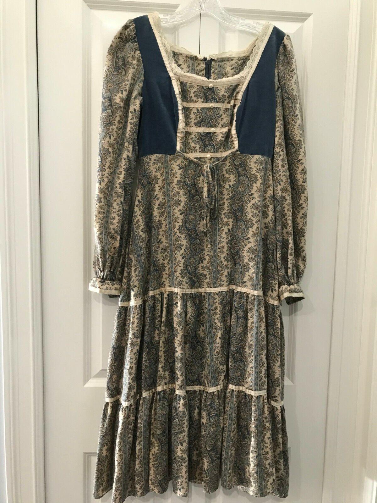 VTG Gunne Sax Blue VELVET Paisley Hippie Prairie RENAISSANCE Boho Dress Size S/M