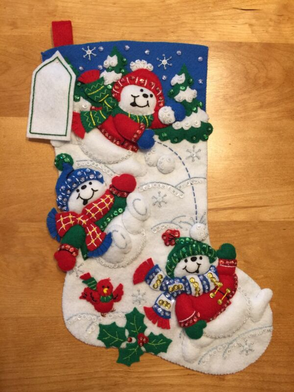 """Fun In The Snow - Bucilla 16"""" Felt Christmas Stocking Finished - Hand Sewn"""