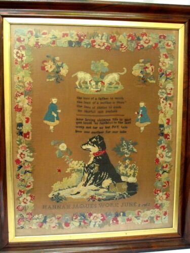 Antique Needlepoint Sampler by Hannah Jaques 1862 Dogs  Children and Poem
