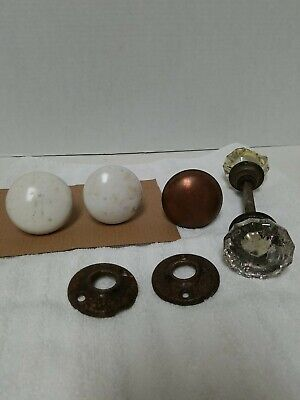 """Vintage Lot of 5 DOOR KNOBS Brass, Metal & Porcelain 2 CLEAR 2"""" 3 WITH STEMS"""
