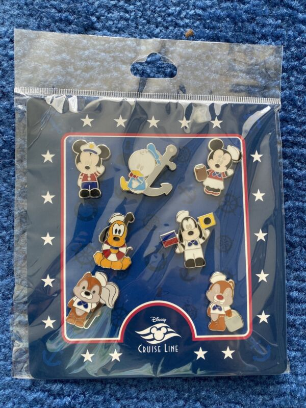 Disney CRUISE LINE MICKEY Minnie Goofy Donald Pluto + DCL 7 Pin Booster Set New