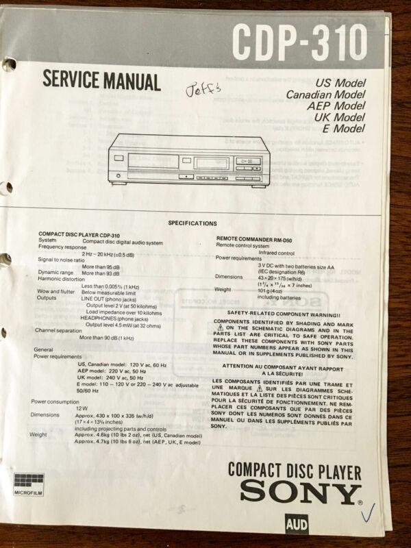 Sony CDP-310  Service Manual *Original*