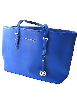 Michael Kors Jet Set Tote Bag, Large Blue Saffiano Leather, Excellent Condition