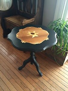 Inlaid wood accent table