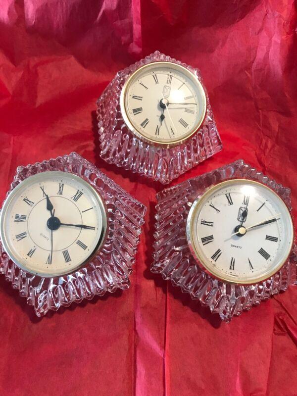 Vintage ANNA HUTTE BLEIKRISTALL Lead Crystal Quartz Clock