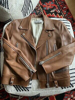 Authentic ACNE Leather Moto Jacket Brown Womens