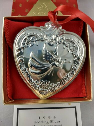 1994 Wallace Christmas Heart Sterling Silver Ornament, New, Mint w/box,bag
