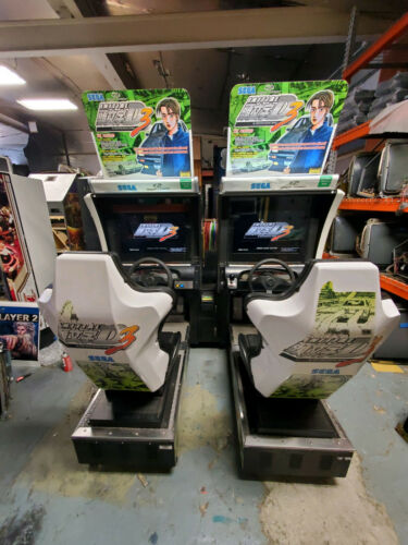 INITIAL D V3 (2) Linked Full Size Arcade Sit Down Driving Games (You Get Both)