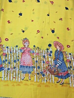 """Vintage Manes Fabric Co. American Greetings Holly Hobbie Yellow 44"""" by the yd."""