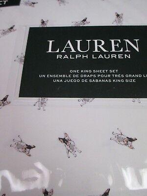 New Ralph Lauren 100% Cotton 4pc White Gray Bulldogs Sheet Set - King