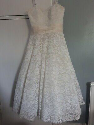 Justin Alexander Wedding Dress Size 12 Lace Knee Length Ivory Short.