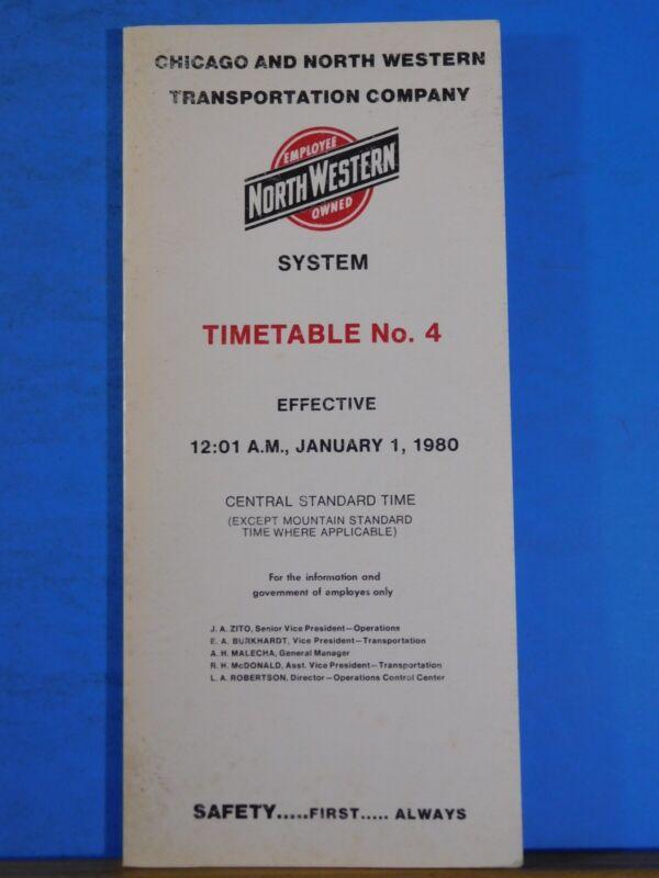 Chicago & Northwestern Railroad Employee Timetable #4 1980 Jan 1 C&NW