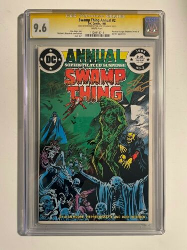 DC SWAMP THING ANNUAL #2 CGC SS 9.6 ALAN MOORE SIGNED BY BISSETTE AND TOTLEBEN