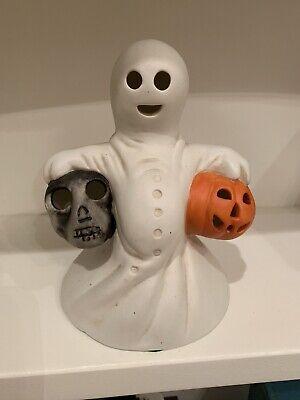 Vintage 1985 Ceramic Ghost Holding Skull And Pumpkin VGUC