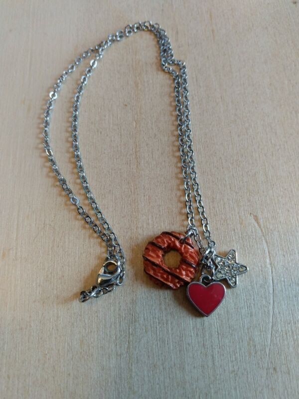 Little Girls Necklace With 3 Pendants, Cookie, Heart And Star. GS? Samoa