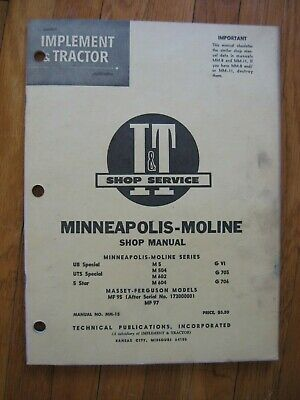 Minneapolis Moline Ub Uts Special 5 Star M 504 602 604 G Vi 705 706 It Manual