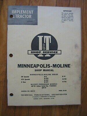 Minneapolis Moline Ub Uts Special 5 Star M 504 602 604 G Vi 705 706 It Manual