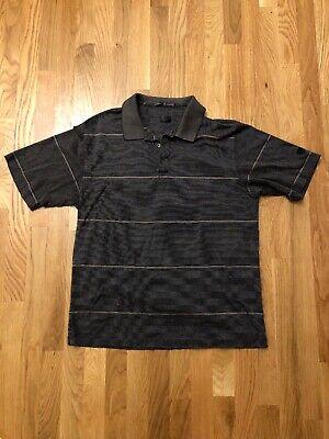 NIKE Tiger Woods Collection GOLF POLO SHIRT Medium M Stripes Brown Black Vtg