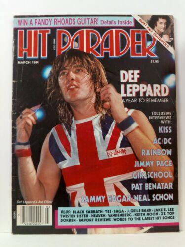 Hit Parader Magazine March 1984Def Leppard Kiss AC/DC Rainbow Jimmy Page SAGA