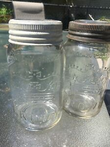 Vintage crown mason canning jars