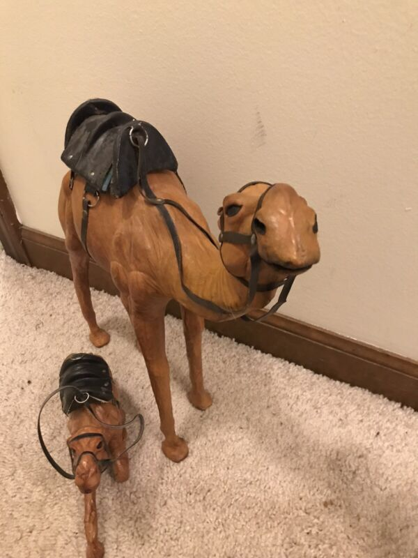 2 Vintage Leather Wrapped Camel Figure w Large Saddle Figurine 14.5  Inches Tall