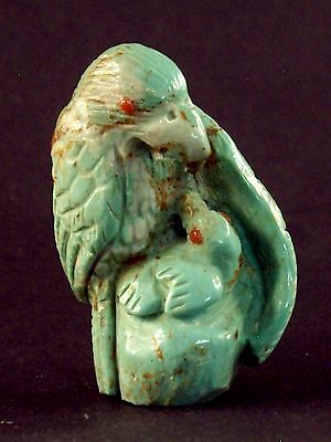 Derrick Kaamasee-Turquoise Eagle w/ Baby-Zuni Fetish-Stone Carving