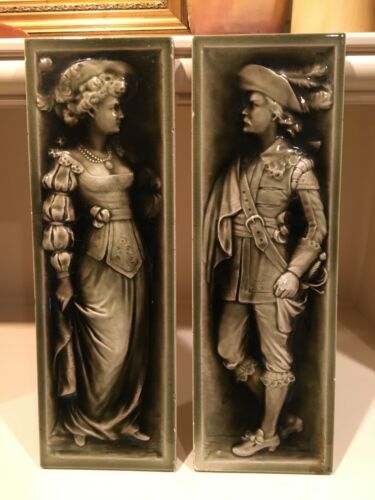 """American Encaustic Tile Company Wall Plaques(2) 18"""" x 6"""" Victorian Characters"""