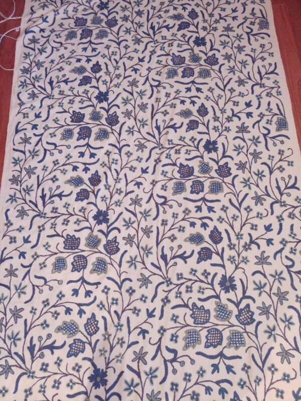 Vintage Handwoven Kashmir Crewel Fabric From India, Large Roll Beautiful Fabric!