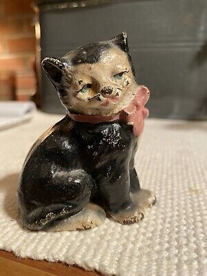 Antique Vintage Hubley Cast Iron Kitty Cat Figurine Pink Bow Paperweight