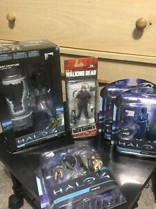 Halo and walking dead figures