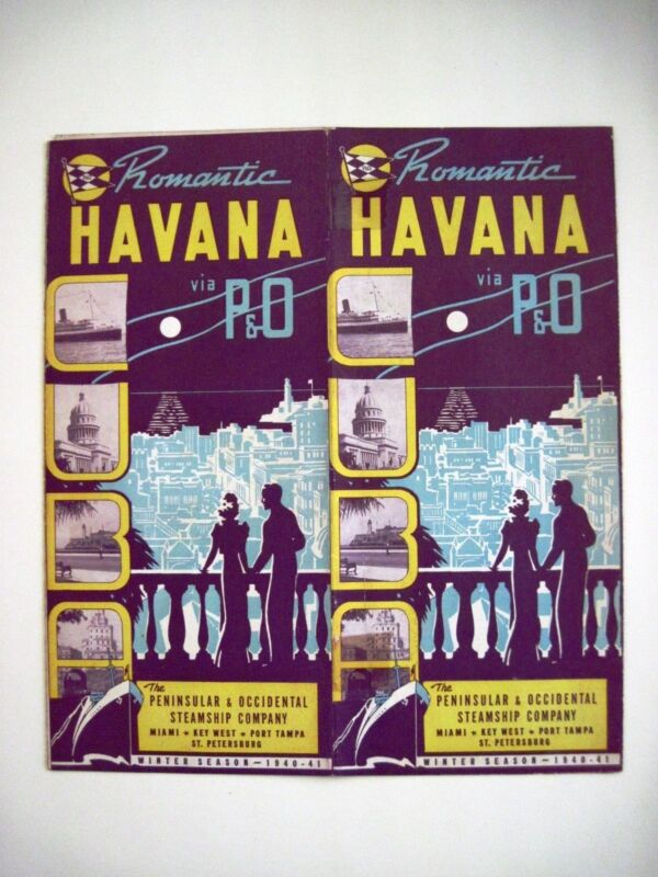 "1940 ""American Flag Steamships P & O""  ""Romantic Havana"" Travel Brochure  *"