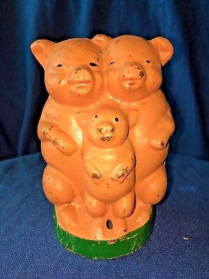 Vintage Cast Iron Bank ~ Three Little Pigs - Piggy Bank - NICE