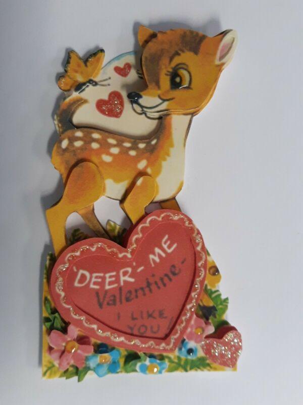 Vintage Disney Bambi Valentine Card Valentines 3D Homemade Glittery Cute!