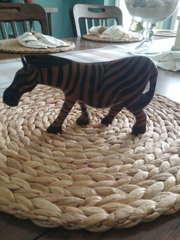 Carved Donkey/Zebra Figurine