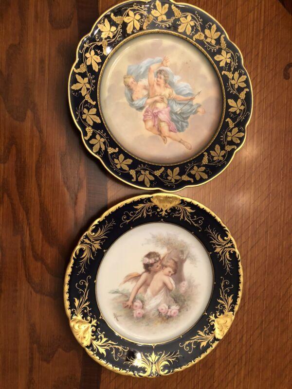 Antique Royal Vienna pictorial porcelain plates (2pcs)