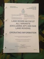 Military Land Rover 90/110/127 Gs Ffr Defender Operating Information Manual - land rover - ebay.co.uk