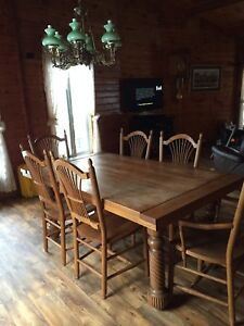 Solid Oak Table And Chairs China Cabinet