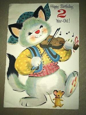 Vintage Forget-Me-Not 2 Yr Old Birthday Greeting Card Flocked Glitter Cat Fiddle