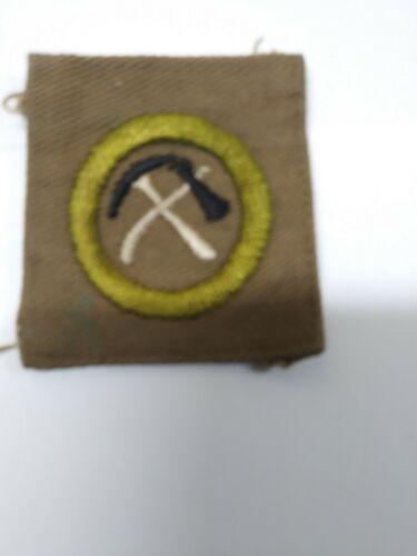 "BSA Merit Badge, 2"" X 2"" khaki square, PIONEERING, multi-color pick and ax desig"