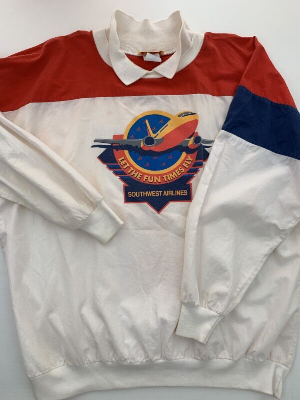 Vintage Southwest Airlines Pullover Sweatshirt Collar X-Large Red White Blue