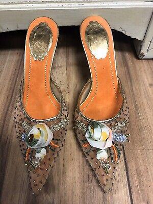 Rene Caovilla - NEW Embellished Mesh Mules - Size 37