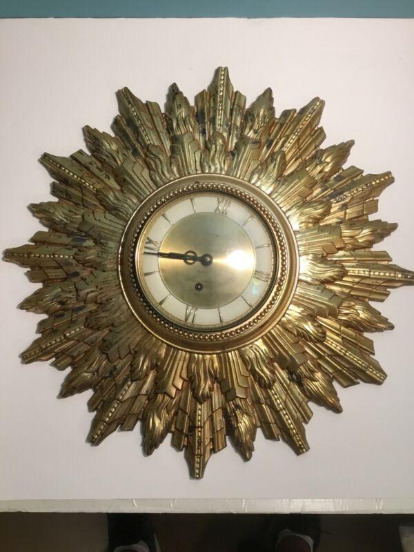 Vintage Welby Starburst 8 Day Clock Mid Century