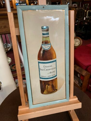 "Vintage GRANDE French Cognac Self-Framed Tin Advertising Tin Sign ""Video"""