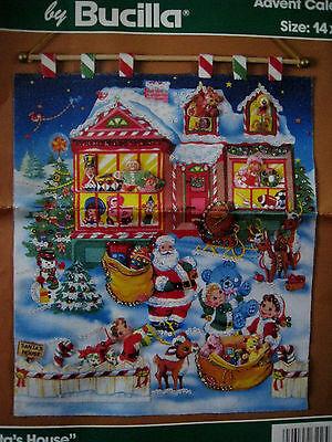 Bucilla Felt Jeweled Christmas ADVENT CALENDAR Holiday Kit,SANTA'S -