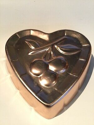 Heart Gelatin Mold (Vintage Cherry Copper Colored Mold Heart 6 Inch Kitchen Decor)