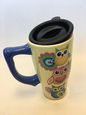 Owl And Flower Travel Ceramic Coffee Mug Tea Togo