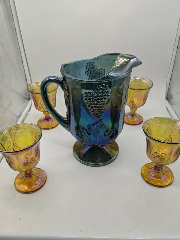 Carnival Glass Pitcher and 4 Goblets Tumblers  Harvest Grape