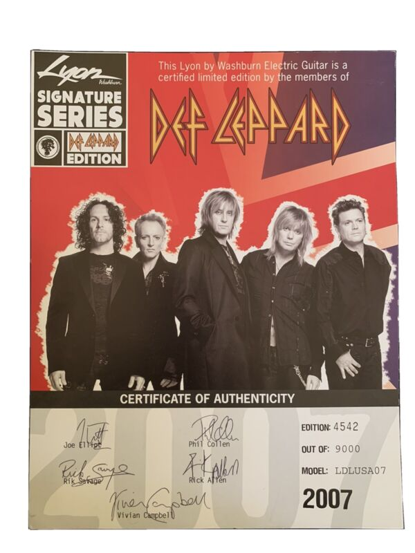 Def Leppard Signed Certificate Of Authenticity 2007 Lyon Washburn Guitar RARE