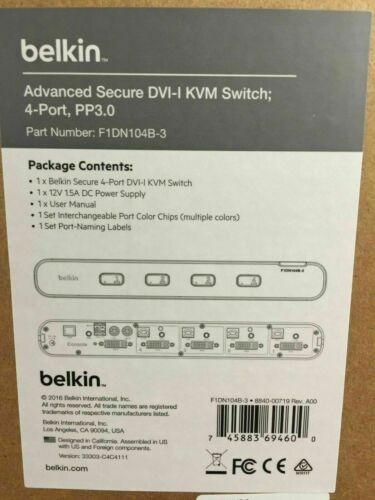 Belkin F1DN104B-3 - Advanced Secure DVI-I KVM Switch; 4-Port, PP3.0 (NIB)