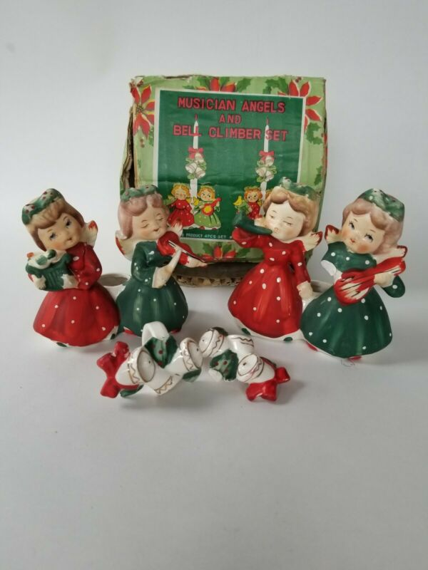Commodore Christmas Musician Angel Candle Holders and Climbers Vintage Set